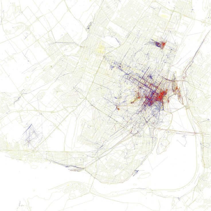 Locals (blue) & Tourists (red) heatmap #montreal
