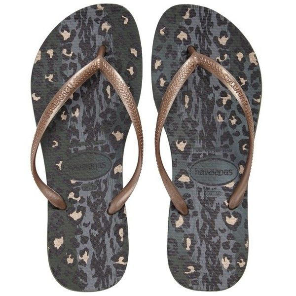 Women's Havaianas 'slim Animal Print' Flip Flop (105 ILS) ❤ liked on Polyvore featuring shoes, sandals, flip flops, green olive, strap shoes, animal print shoes, olive green shoes, green sandals and strap sandals
