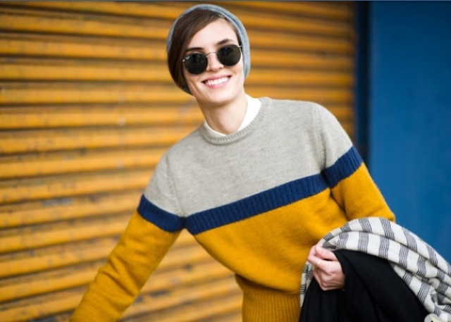 Colour blocking on sweaters