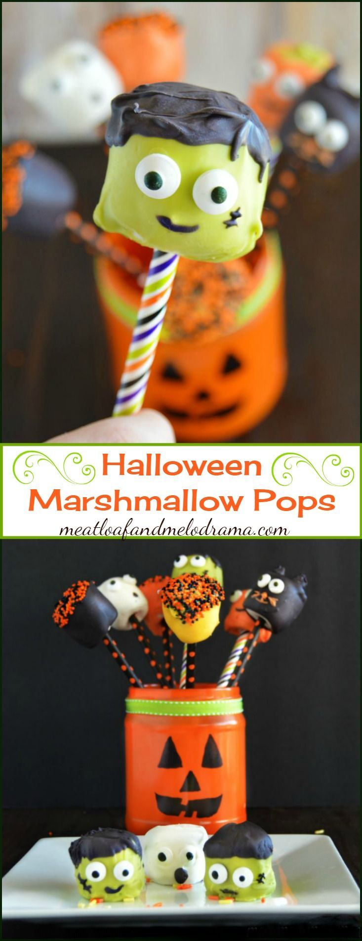 Halloween Marshmallow Pops -- an easy Halloween treat or dessert