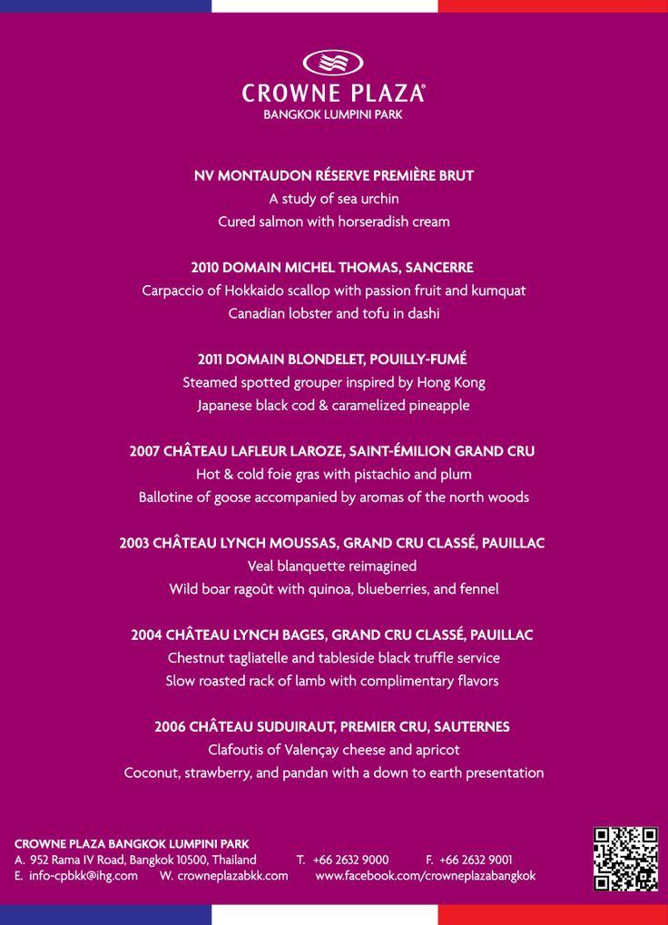 French Grand Cru Wine and Food Pairing at Panorama Restaurant, Crowne Plaza Bangkok Lumpini Park: 3,999 Baht++/person