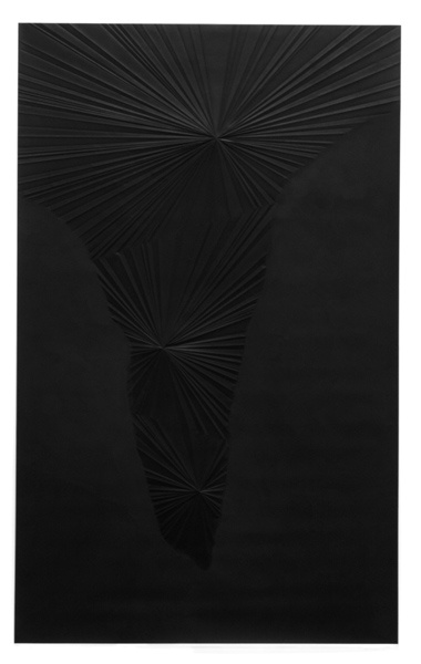 Sandeep Mukherjee  Untitled (Black Valley), 2008  Acrylic, gesso, and embossed drawing on Duralene  8 x 5 fee