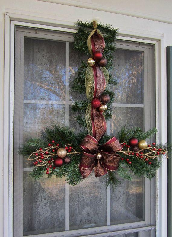 Christmas Swags Set of 4 & Hangers Window by GiftsByWhatABeautifu