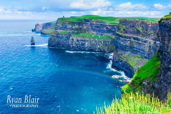 Ireland Photograph - Sea Spray Rainbow, Cliffs of Moher, Co. Galway - Glossy/Lustre/Canvas Print FLAT RATE SHIPPING