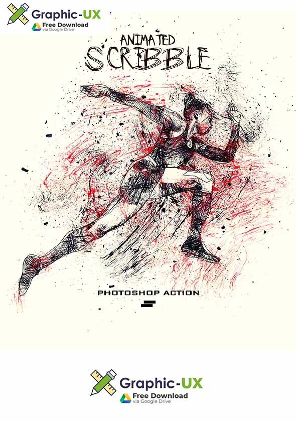 Gif Animated Ink Scribbles Photoshop Action Free Download Free