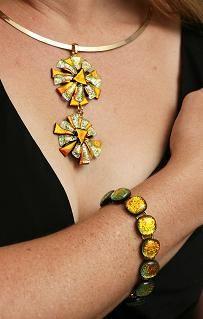 Double Daisy Pendant & Bracelet by Cheryl Smith