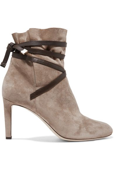 Heel measures approximately 85mm/ 3.5 inches Taupe suede, chocolate leather Pull on Designer color: Light Mocha/ Dark Brown Made in Italy