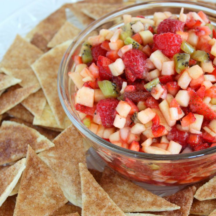 Fruit Salsa with Baked Cinnamon Chips:  This is INCREDIBLE!!  Highly recommended for a brunch, baby shower, wedding shower....pretty much any occasion!  :)  Last time I added fresh blueberries for a little more color.  SO good!!!