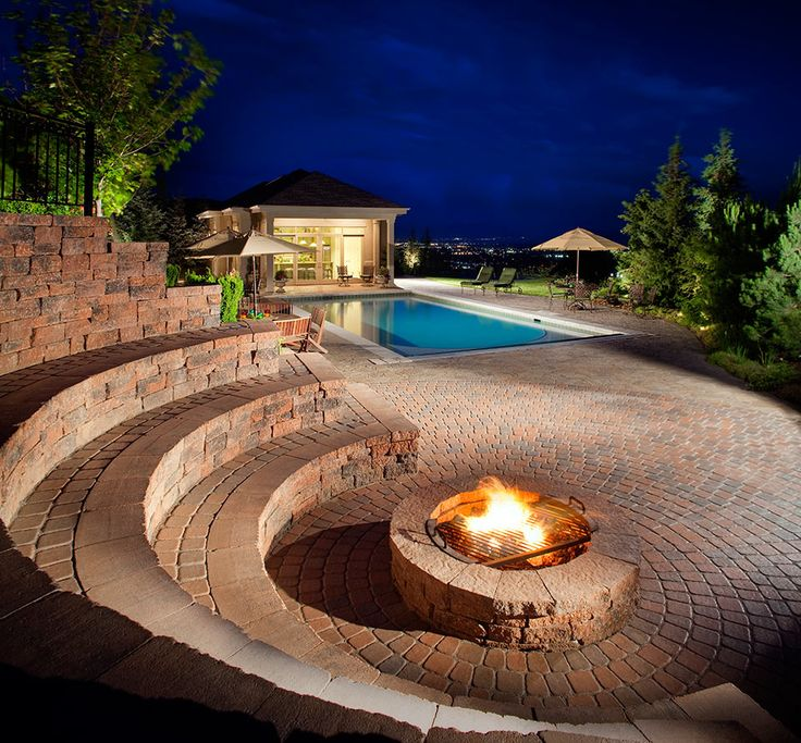 Stadium Style Seating Area Around The Fire Pit. It's A