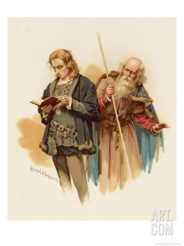 Hamlet with Polonius Stretched Canvas Print by Harold Copping at Art.com