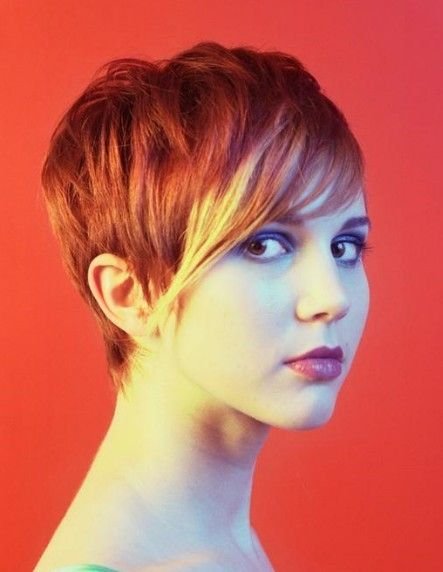 short red hair. i love this style and cut. i've had something similar already but instead of red it was dark brown.