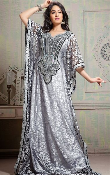 Picture of Chic Gray Arabic Kaftan Dress