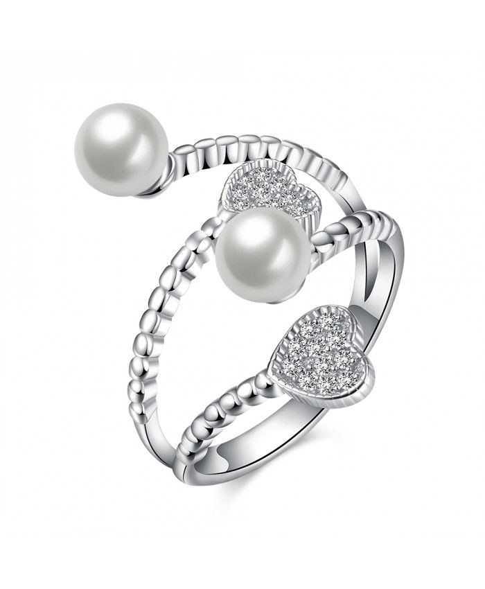 Ouruora Layered Heart and Pearl Open Wedding Ring