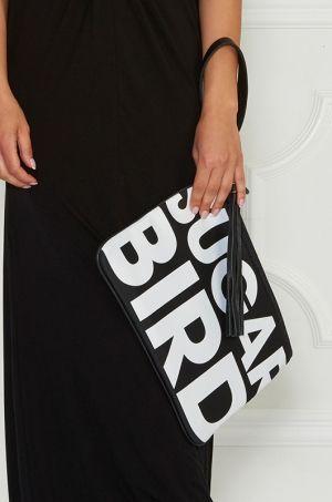 Listová kabelka s potlačou SUGARBIRD v dvoch farebných prevedeniach,zadná časť ušitá z kože. Možnosť rozopnutia na zlatý sips z vrchnej časti. Tento trendy kúsok príjemne osvieži celý Váš outfit.