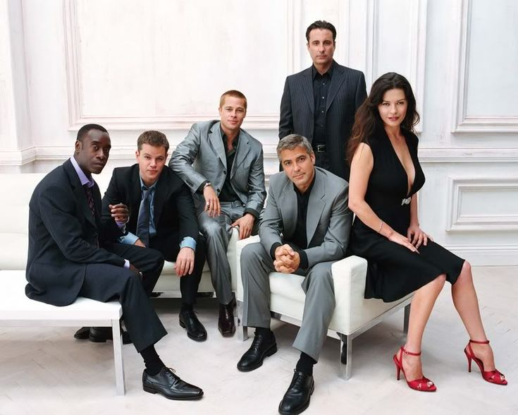 Don Cheadle, Matt Damon, Brad Pitt, George Clooney, Andy Garcia, and Catherine Zeta Jones
