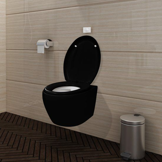 Wandtoilet Zwart Ovaal met Soft-Close-mechanisme