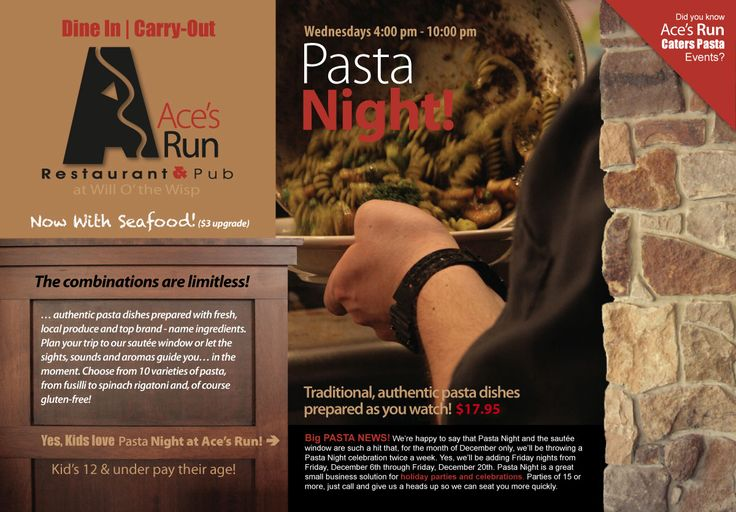 Ace's Run Restaurant & Pub at Will O' the Wisp | Deep Creek Lake, Maryland | Pasta Night