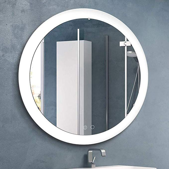 Nitin Wall Mounted Vanity Mirror With Light Modern Circle Makeup Mirror With Smart Touch Control Di Lighted Wall Mirror Mirror With Lights Wall Mounted Vanity