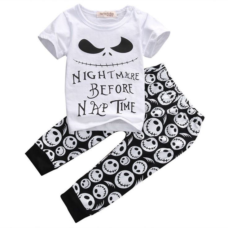 New 2pcs Baby Boys Casual T-shirt+ Skull Pants Outfits Summer Clothes Set Age 0-18M