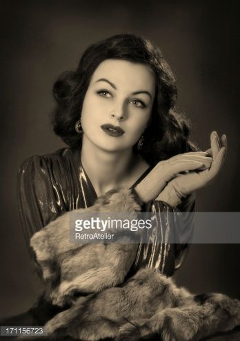 Stock-Foto : Old Hollywood.Beauty in film noir style.