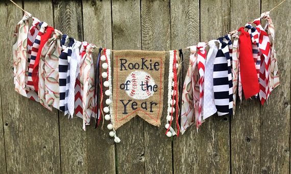 What a cute high chair banner for a little boy turning one! Found on Etsy! Baseball Birthday High Chair Banner/Rookie of the Year/Cake Smash/Party Decor/Photo Shoot Prop/Boy Sports First Birthday/Fabric Banner