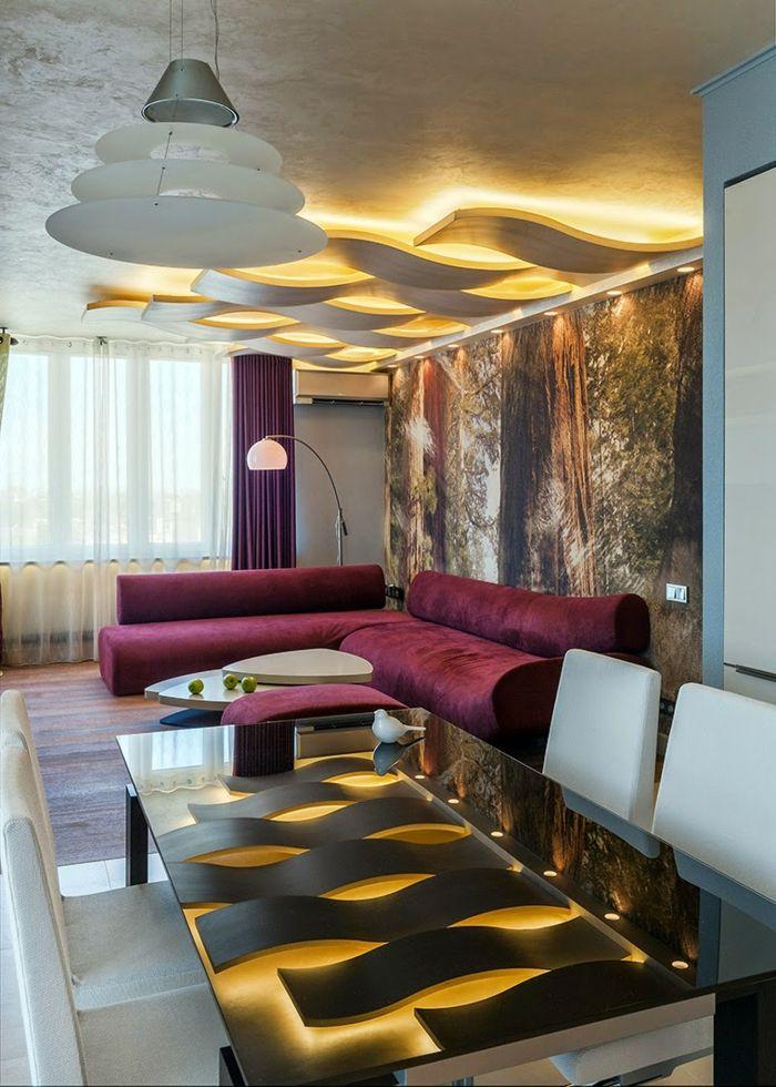 Wohnzimmer Beleuchten Coole Deckenbeleuchtung Offener Wohnplan