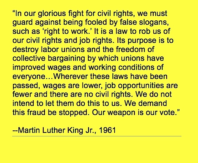 Martin Luther King quote on labor unions, worker's rights and right to work, 1961.