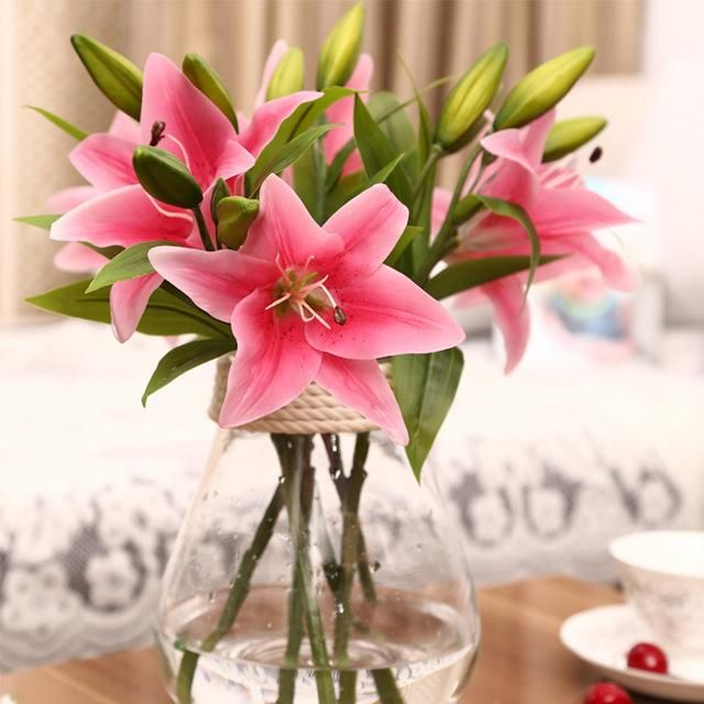 3Heads Real Touch Artificial Lily Flowers Wedding Bridal Silk Fake Bouquet Decor
