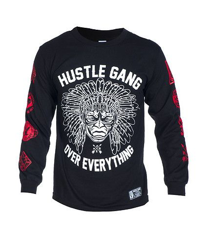 HUSTLE GANG Chief graphic tee Short sleeves Crew neck with ribbed collar Cotton for comfort Chief graphic HUSTLE GANG logo on front