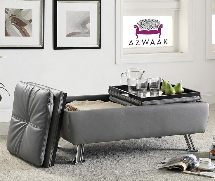 Dilleston Gray Storage Cocktail Ottoman With Chrome Legs By Coaster 550030 Living Room