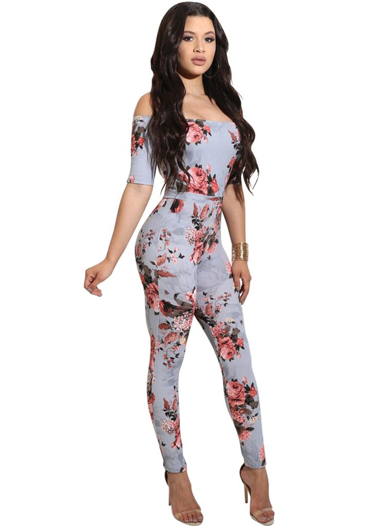 Floral Print Off The Shoulder Jumpsuit_Jumpsuit & Rompers_Women Clothes_Sexy Lingeire | Cheap Plus Size Lingerie At Wholesale Price | Feelovely.com