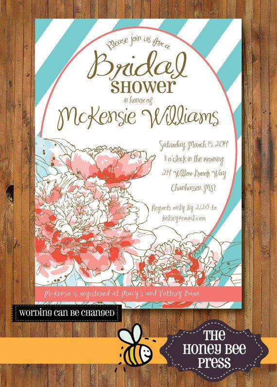 Bridal Shower invitation - Spring Bloom in Tiffany Blue! Coral and Pink by TheHoneyBeePress