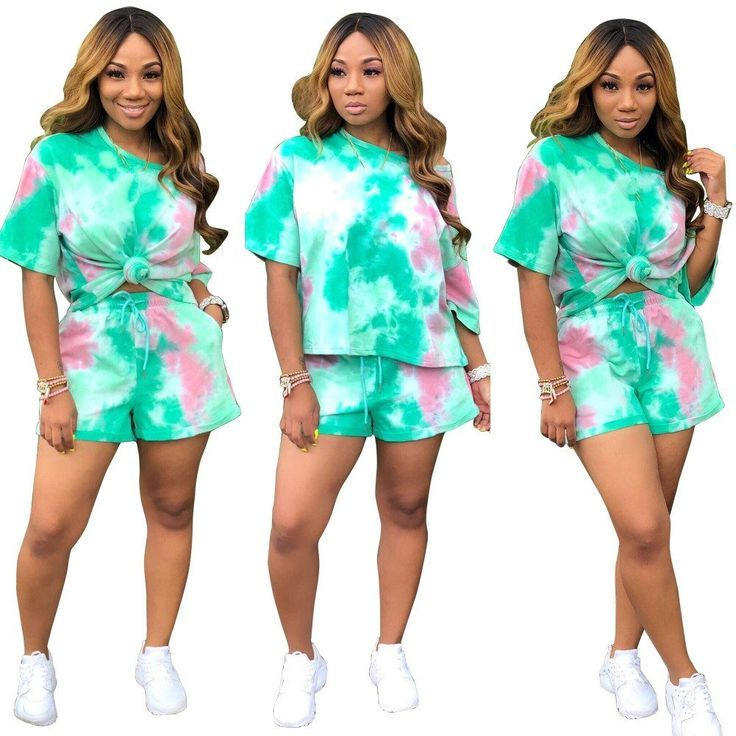 2019 Autumn Crop Top And Biker Shorts 2 Piece Set Women Fashion Tie Dye Print Sh… –  #autum…   – Biker Shorts Outfit Casual
