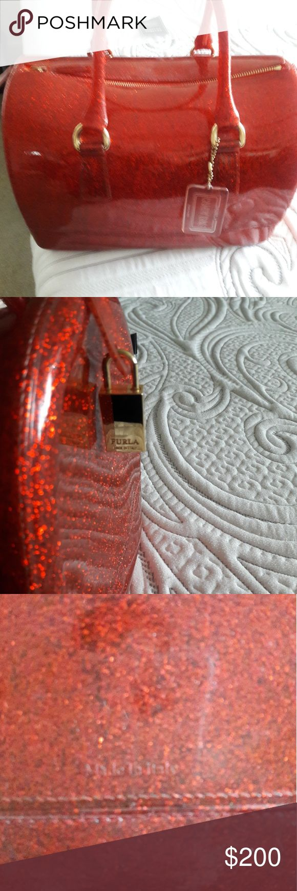 Authentic Furla Purse Sparkly red medium/large in size, used once no marks or scratches. Authentic. Comes with dust bag. Furla Bags Totes