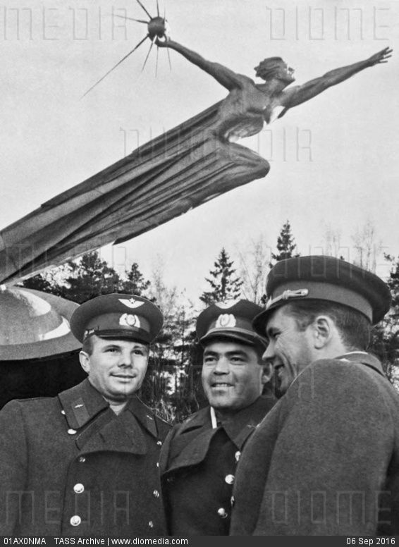 STOCK IMAGE - Yuri Gagarin, Andrian Nikolayev, and Pavel Popovich, 1962 by…