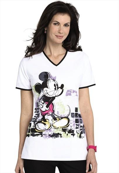 Disney Mickey Mouse Work of Art print scrub top.