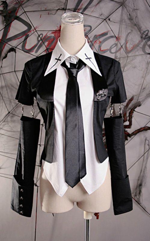 Gothic Punk Rave Damen Shirt schwarz weiß Krawatte Bluse WGT Luna 32 34 36 38