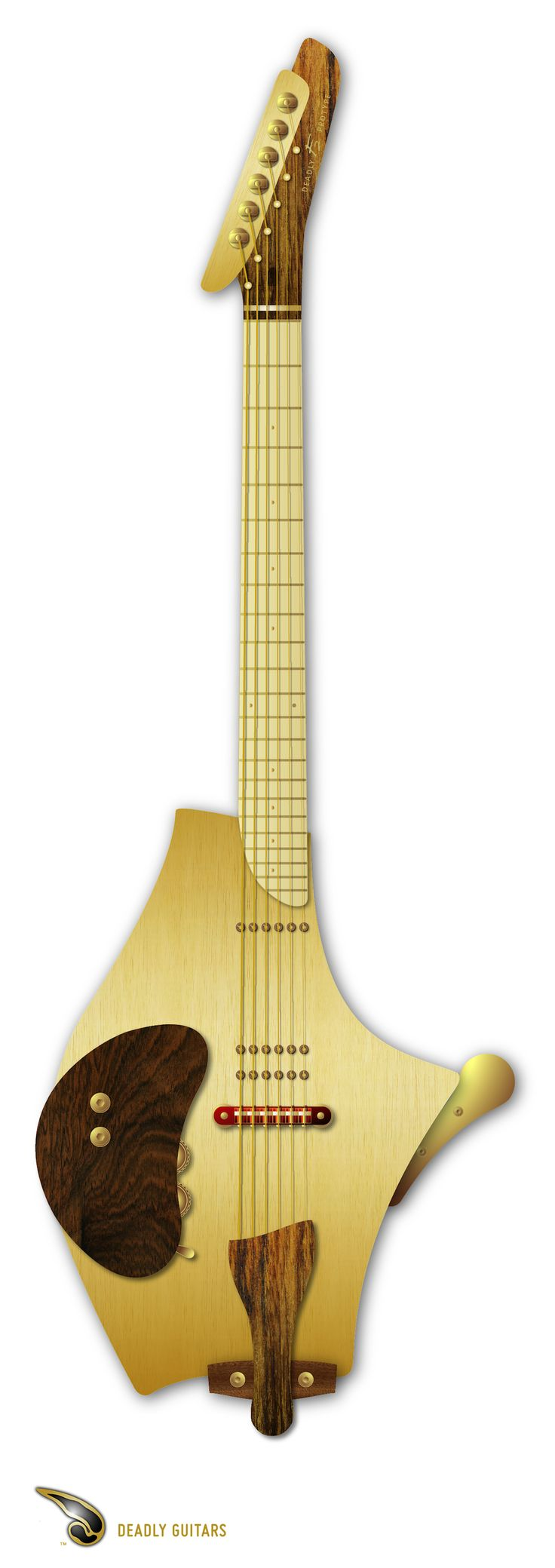 Bil Andersen Deadly F2 design - a tribute to Hiroshiro Matsuda. It will be a magnetic & piezo hybrid semi-acoustic.