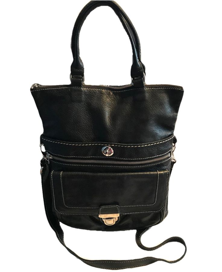 ROOTS Canada Genuine buttery black Leather tribe Lauren Convertible Crossbody | eBay