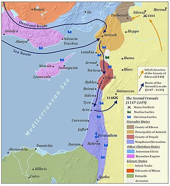 A map of the major battles of the Second Crusade in the Levant, located in the…