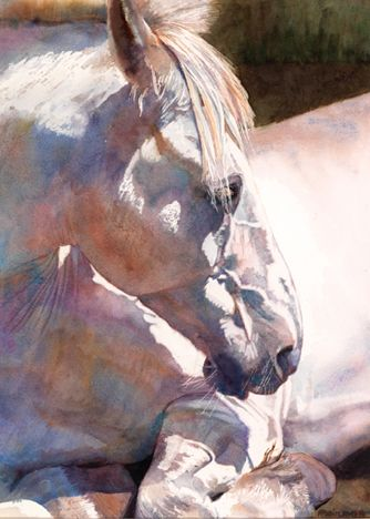 """""""Blanca"""" by Anne F. Fallin --- a rainbow of color on a white horse is just magical!"""