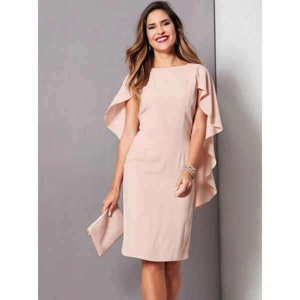 Produkty :: ŽENY :: Oblečenie :: Šaty :: VENCA Večerné šaty s originálnymi rukávmi telová - Produkty