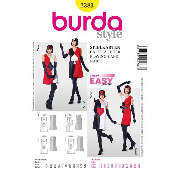 Costume carta da gioco, Burda 2383 - Cartamodelli Burda Taglie Forti- tessuti.com