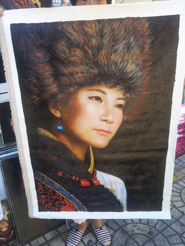 Bellissimo ritratto, olio su tela, Cina, Yunnan,arte contemporanea. € 750,00