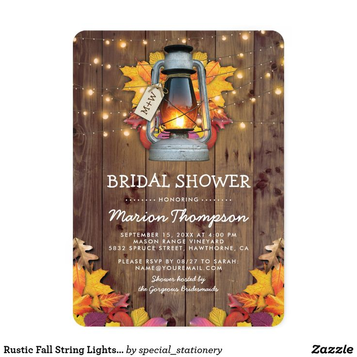 how early should you send out wedding shower invitations%0A Rustic Fall String Lights Autumn Bridal Shower Card