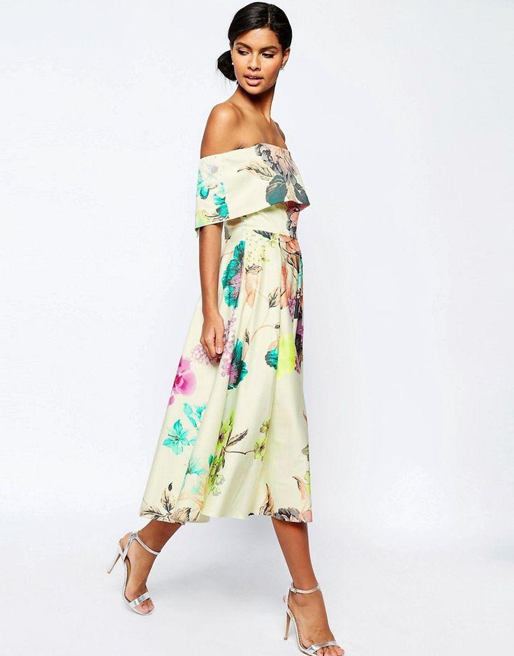 Image 4 ofASOS Premium Off The Shoulder Bardot Midi Prom Dress In Large Bright Floral