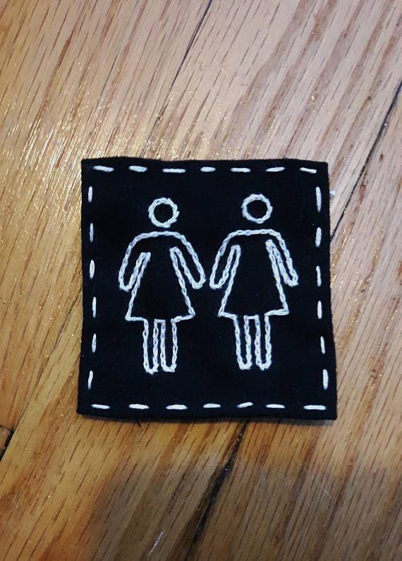 Hand embroidered patch. Lesbian pride. Female bathroom sign. Sew on patches for jackets. Punk patch. feminist patches. Queer embroidery LGBT