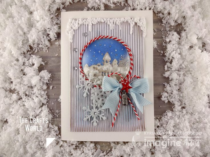 Create the feeling of a snow globe on a Christmas greeting card with a shaker bubble front and a lot of snow, a bit artificial however! This Christmas card keeps less color on the background and the embellishments to enhance the content of center piece, in combination with the red and white twine that goes …