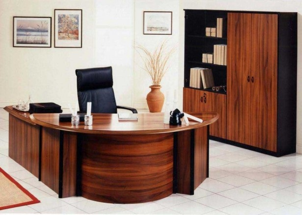 Funky Curved Wooden Desk Plus Elegant Executive Office Chair Feat  Rectangular File Cabinet Plus Shelves: Incredible Executive Office Chairs  With Classy ...