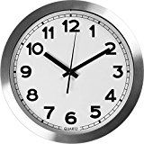 #1: Large Indoor/Outdoor Decorative Silver Wall Clock  Universal Non  Ticking & Silent 12-Inch Wall Clock  by Utopia Home (Aluminium)